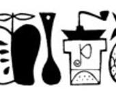 Mod Kitchen Pyrex Style Border Art Mid-Century Modern Modernist - Digital Image - Vintage Art Illustration