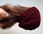 Knit slouchy hat - BURGUNDY  (more colors available - made to order)