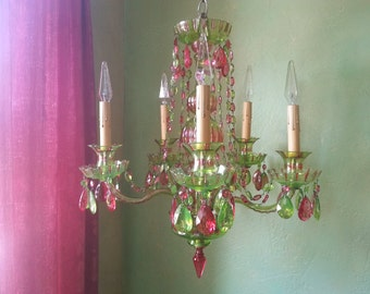 50% OFF - Chandelier Lighting, Cut Crystal Deep Pink and Green, One of a Kind, Layaway Available