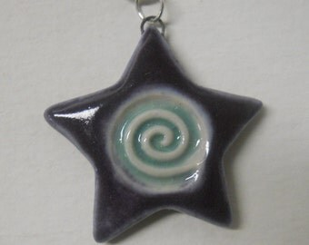 Spiral Star Clay Pendant -  Purple and Light Blue
