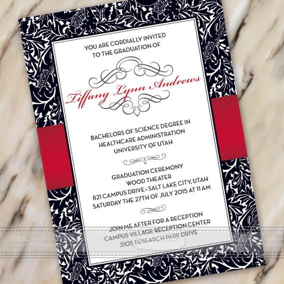 graduation invitations, black and crimson graduation invitations, crimson graduation invitations, wedding invitations, IN389