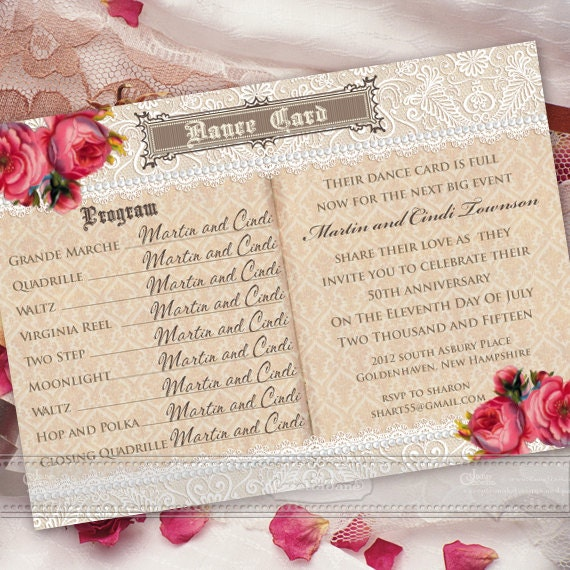 50th anniversary party invitation, golden anniversary party invitation, dance card invitation, vintage dance card invitation, IN390