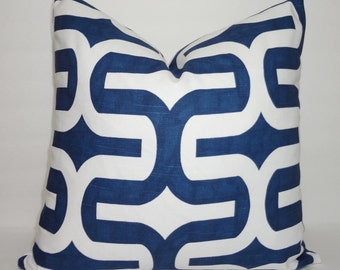 Navy Blue & White Geometric Print Pillow Cover Decorative Throw Pillow Cover  All Sizes