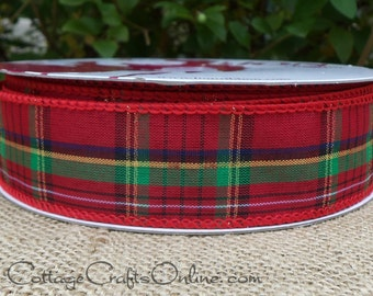 "Christmas Wired Ribbon, 1 1/2"" Plaid, Red and Green with Metallic Gold - THREE YARDS - Offray ""Holiday Plaid"" Craft Wire Edged Ribbon"