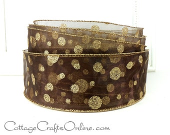 "Christmas Wired Ribbon,  2 1/2"",  Chocolate Brown Sheer with Gold Glitter Polka Dots - THREE YARDS - ""Glitter Dot"" Craft Wire Edged Ribbon"