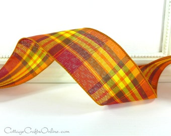 "Wired Ribbon 2 1/2""  Fall Plaid Orange, Yellow, Brown , Red - THREE YARD ROLL -  ""Abundance"" Thanksgiving, Craft Decor Wire Edge Ribbon"