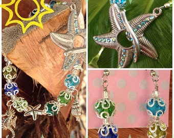 SALE: Life's a Beach Dolphin Starfish Aquatic Ocean Sea Life Shells Toggle Charm Bracelet and Earring Set Handmade Heaven
