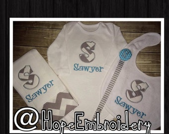 Monogrammed Chevron  Burp Cloth ,Onesie,Pacifier Clip  and Bib Personalized Baby Set
