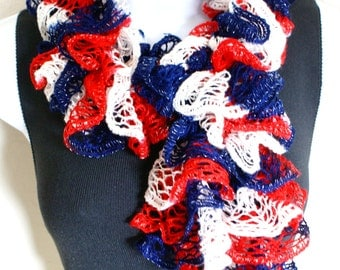 Ruffle scarf hand knit RED WHITE and BLUE colors with shiny silver +60 inches long