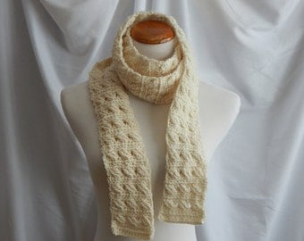 Crochet Skinny Scarf - Extra Long in Cream Off White