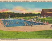 Virginia, Halifax County, Swimming Pool, Club House, Staunton River State Park - Linen Postcard - Unused (UUU)