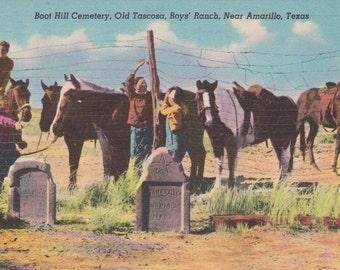 Boot Hill Cemetery, Old Tascosa, Boys Ranch, Amarillo, Texas - Linen Postcard - Unused (A1)