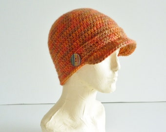 Newsboy hat - autumn colors -orange and brown tones - organic wool - adult size - unisex