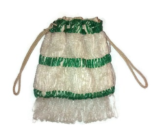 Antique Beaded Purse, Green and White Beaded Pouch , Drawstring Bag