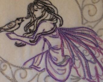 Lunar Fae Embroidered Fleece Scarf