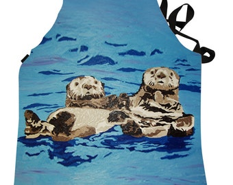 Sea Otter Apron by Salvador Kitti  -  Support Wildlife Conservation, Read How - From My Painting, Best Friends