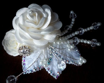 ON SALE Off White-Ivory Headpiece-. Embellished with Exquisite Swarovski crystals. Wedding - Paded Roses Collection-style 001-