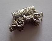 Vintage Silver Charm Cowboy Wagon OPENS