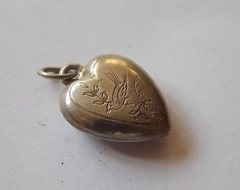 Vintage Silver Heart Puffy Charm Engraved Bird