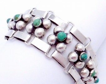Vintage 1930s Taxco Mexican Mexico Sterling Silver Turquoise Bubble Bracelet 20035