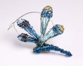 Dragonfly brooch Dragonfly jewelry Cerulean blue dragonfly art brooch Insect art jewelry Wire Sculptural jewelry Mom birthday gift Unusual