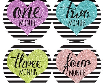 FREE GIFT, Heart Baby Month Stickers, Hearts, Baby Girl, Glitter, Black Stripes, Monthly Baby Stickers, Baby Milestones, New Baby Gift