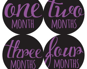 FREE GIFT, Baby Girl Month Stickers, Purple, Black, Monthly Baby Stickers, Baby Belly Stickers, Milestone Stickers, Baby Month Stickers