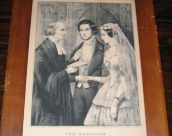 ANTIQUE CURRIER and IVES, The Marriage, Framed Nathaniel Currier