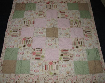 Reduced Price - Modern Handmade Girls Cute Owl Toddler Bed Quilt / Lap Quilt - 47 x 52