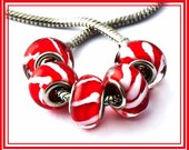 Sale for 2 pcs - Red & White - Candy Stripe Design - CHRISTMAS - Murano Glass Beads - fits European Bracelets - GD-6112