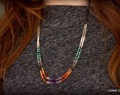Double Strand Gemstone Necklace, Boho Jewelry, Long Necklace, Layering Necklace, Multi Color Gemstone Necklace, Statement Necklace