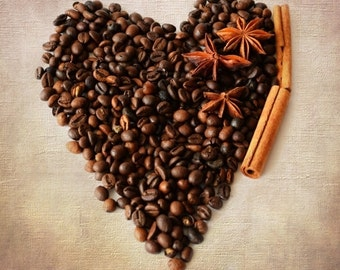 Coffee Heart, Food photography, Coffee Beans, Kitchen art, Star Anise, Café décor, Coffee art, Engagement gift,  Coffee lovers gift