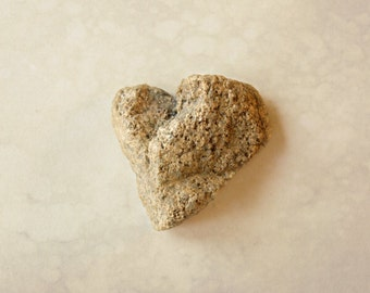 Heart photography, Coastal Wall art, Beige Stone Heart, Beach photography, Engagement gift, Nautical wedding, Zen wall art, Bathroom décor