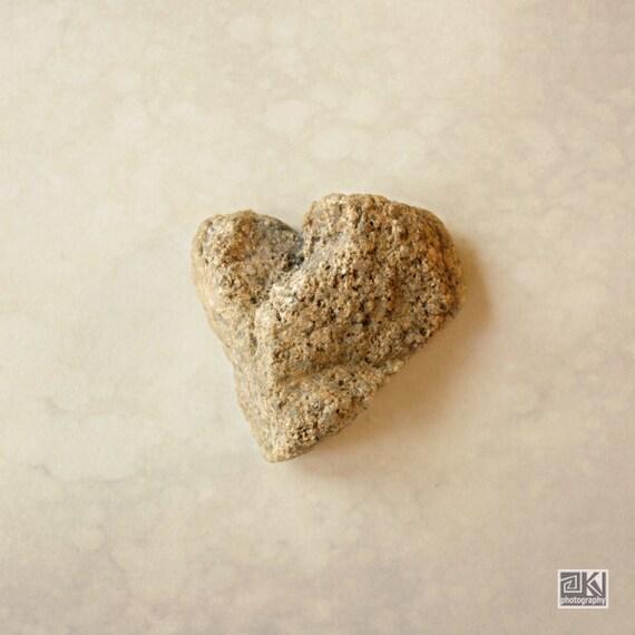 Heart photography, Coastal Wall art, Beige Stone Heart, Beach photography, Engagement gift, Nautical wedding, Zen wall art, Bathroom décor