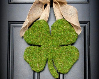 St. Patricks Day Wreath -  Moss Shamrock - Moss Covered Wood Shamrock with Rustic Burlap Bow.  An Original Design.