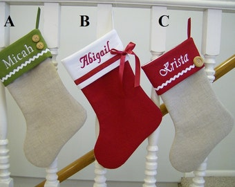 Personalized Linen Christmas Stocking