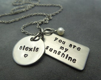 personalized, you are my sunshine hand stamped stainless steel necklace