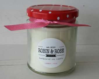 Summer Rose Eco Soy Candle Handpoured 7oz Jar