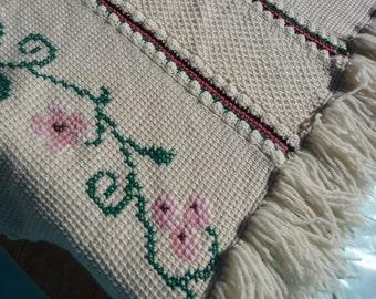 Knit Wool Cream & Rose Lap Rug Throw Blanket