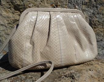 Natural Snake Purse - Vintage by Pantera Light Honey Cream
