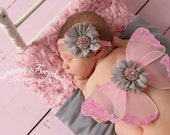 Butterfly Wings Pink - Newborn Baby Photo Prop - Flower Headband - Light Gray Flowers