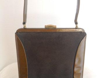 Vintage Lennox Bronze and Brown leather Handbag