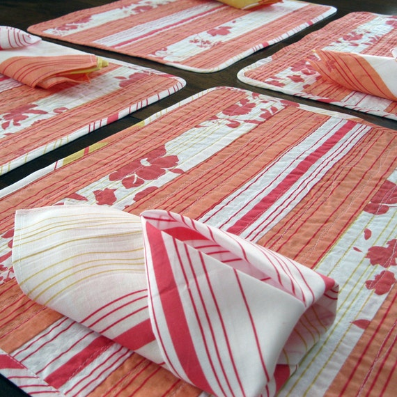 Quilted placemat placemat napkin set tropical coral