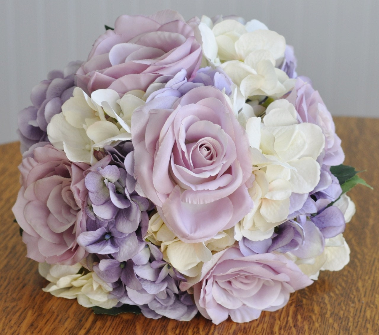 Lavender Rose Gypsophila Bridal Bouquet: Silk Wedding Flower Bouquet Made With Lavender Roses Lavender