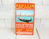 Vintage Venice Italy travel guide map fold out Tabacco 1976
