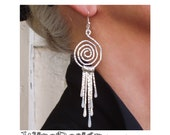 Hammered Fringe Earrings -Silver Wire