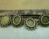 50 pcs 6x8mm Antique Bronze  Cameo Cabochon Base Setting Tray Blanks Pendants Charm Pendant C6211