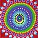 """Dotilism Funky Mandala Original Acrylic Painting  6"""" x 6"""" #003"""