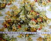 Vintage green brown yellow fruit bottle vase tablescape home decor fabric 1.9YDS