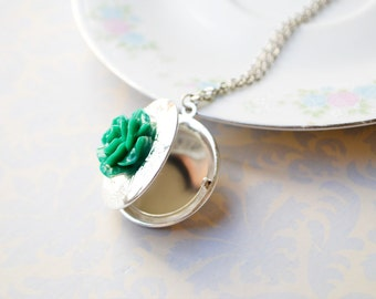 Emerald Green Rose Custom Photo Locket Necklace